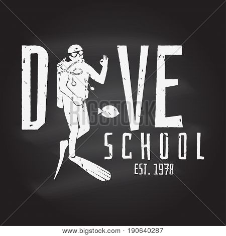 Scuba diving club. Vector illustration on the chalkboard. Concept for shirt or logo, print, stamp or tee. Vintage typography design with diver silhouette.