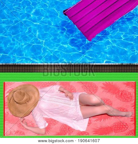 photography with scene of the girl in straw hat to tan near by pool