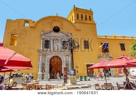 Cartagena, Colombia- March 2, 2017: Santo Domingo Church at the center of the old town Cartagena Colombia