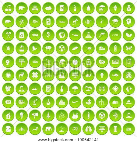 100 eco care icons set green circle isolated on white background vector illustration