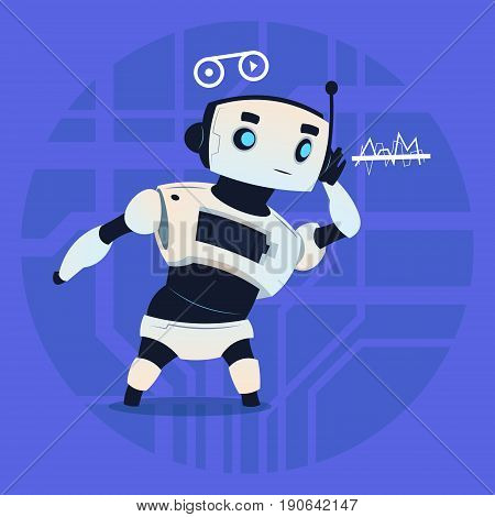 Cute Robot Listeting Modern Artificial Intelligence Technology ConceptFlat Vector Illustration