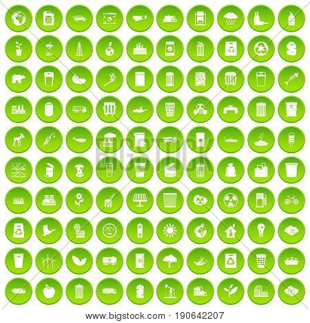 100 ecology icons set green circle isolated on white background vector illustration