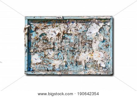 Dirty Old Bulletin Board. Isolated On White Background. Closeup
