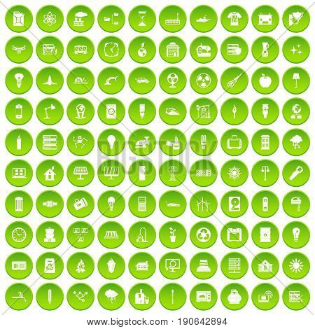 100 electricity icons set green circle isolated on white background vector illustration