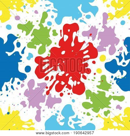 Colorful ink splatters and drops seamless pattern artistic background.