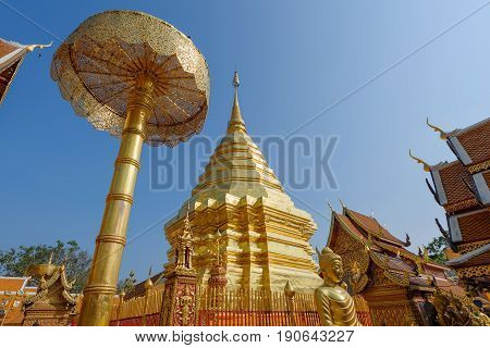 Wat Phrathat Doi Suthep temple in Chiang Mai Thailand.