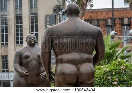 Medellin, Colombia- March 5, 2017:Fernando Botero Sculpture on Plaza Botero Medellin Colombia