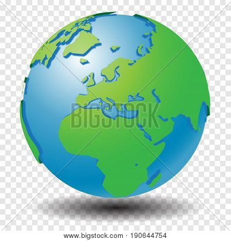 Globe with world map, show Middle East, Africa and Europe region with smooth vector shadows on transparency grid - vector illustration