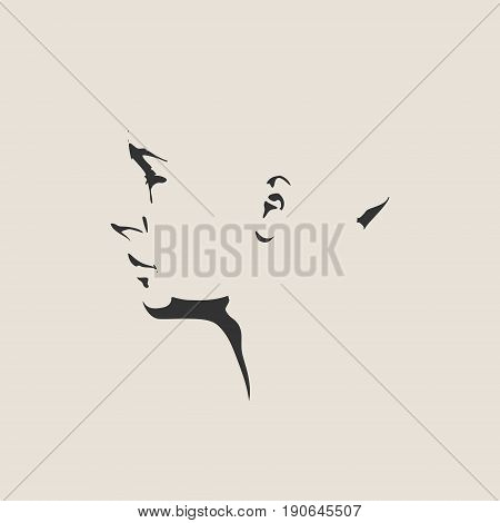 Vector art drawing, portrait of sad and depressed girl. Facial expressions, people emotions, romantic and tender young woman. Face side view.