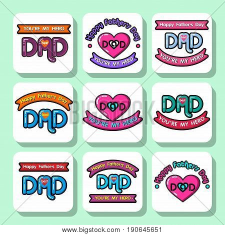 Set of holiday stickers for father's day or for birthday. Vector Isolated flat colorful illustration.