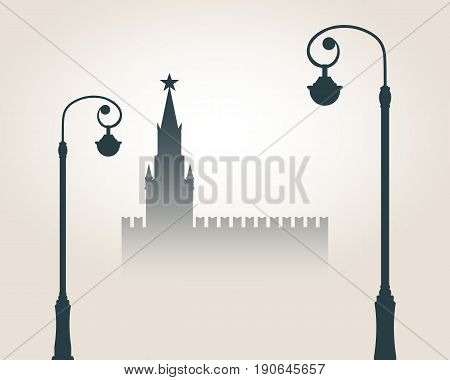 Moscow cityscape skyline. Streetlights, Spasskaya Tower of Kremlin and part of the wall in Moscow. Gradient silhouette. Greeting card illustration