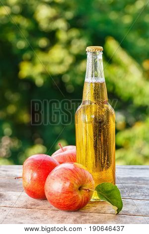 apple cider in glass bottle and ripe fresh apples on wooden table on nature background. Refreshing summer drink