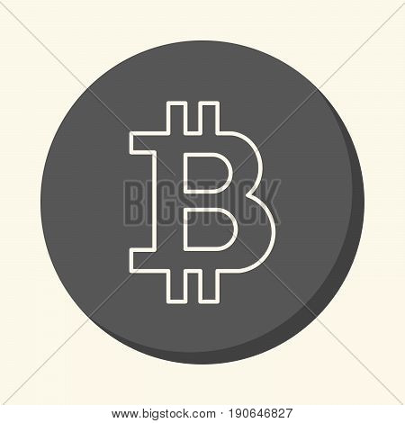 Symbol of digital crypto currency Bitcoin round icon with the illusion of volume