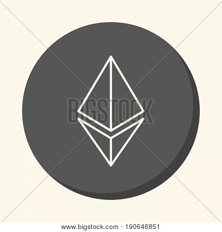 Symbol of digital crypto currency Etherium a round icon with an illusion of volume