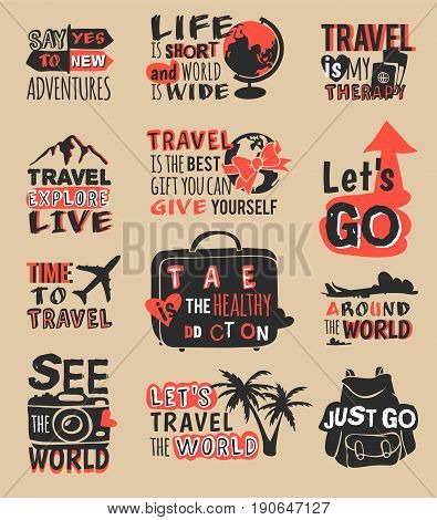 Vintage typography travel motivation bage quote adventure vector set. Adventure poster emblem travel motivation badge lettering element. Travel motivation badge typography label concept.