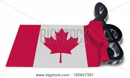 clef symbol and canadian flag - 3d rendering