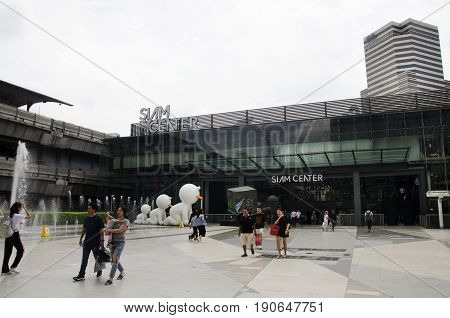 Asian Thai People And Foriegner Travelers Walking At Free Space Between Siam Cemter And Siam Paragon