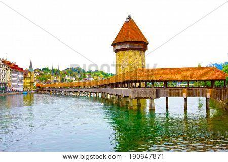 Chapel Bridge and Water Tower in Luzern at Switzerland