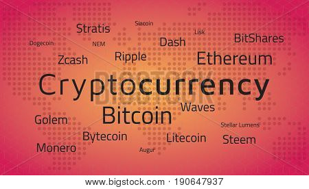 Cryptocurrency top names and world map. Editable eps10 Vector. Transparent background.