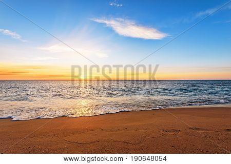 Seascape during sundown. Beautiful natural seascape. Dramatic sky!