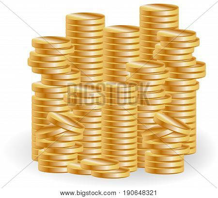 Stacks of gold coins a symbol of wealth success business