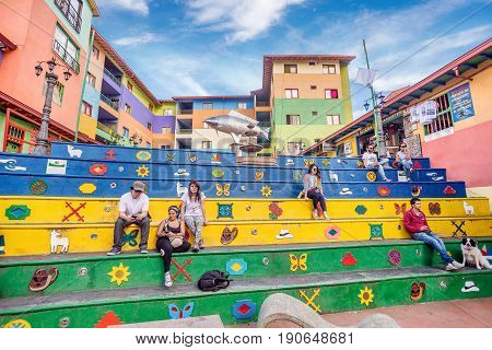 Guatape, Colombia- March 6, 2017:Plaza de los Zocalos in Guatape Colombia