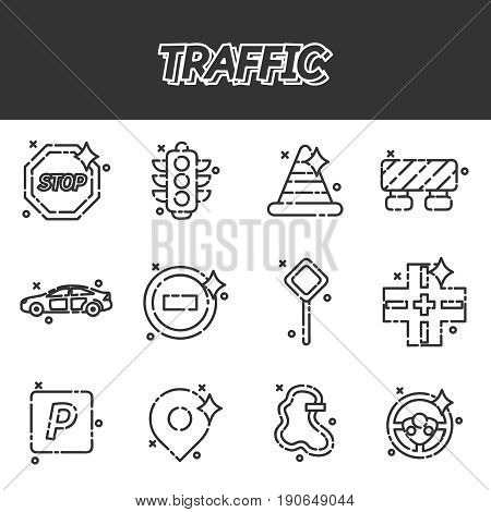 Traffic icons pattern with navigation light controller flat icons isolated vector illustration