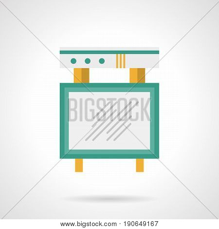 Abstract symbol of announcement board with empty white display. Concert promotion element. Flat color style vector icon.