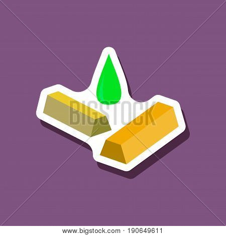 paper sticker on stylish background Gold silver oil