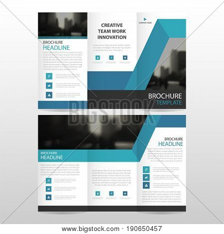 Blue abstract business trifold Leaflet Brochure Flyer report template vector minimal flat design set abstract three fold presentation layout templates a4 size