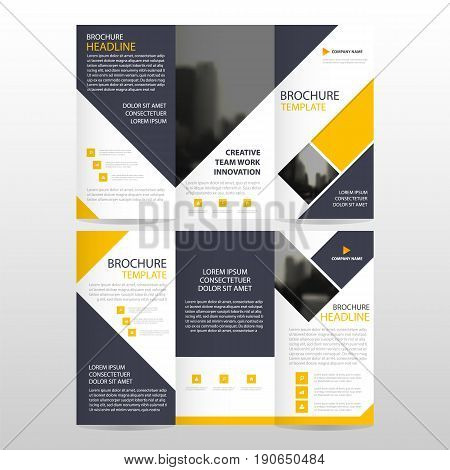Yellow square business trifold Leaflet Brochure Flyer report template vector minimal flat design set abstract three fold presentation layout templates a4 size