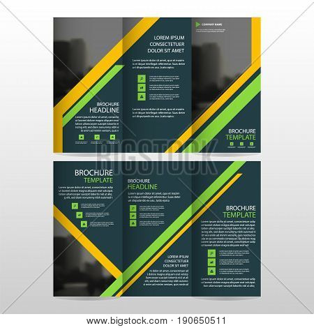 Yellow Green business trifold Leaflet Brochure Flyer report template vector minimal flat design set abstract three fold presentation layout templates a4 size