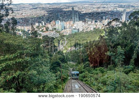 Bogota, Colombia- March 10, 2017: Cable car Funicular oldest metro to Monserrate Mountain in Bogota Colombia