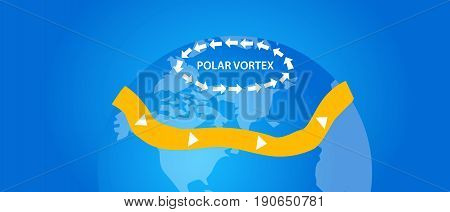 polar vortex illustration globe wind direction vector