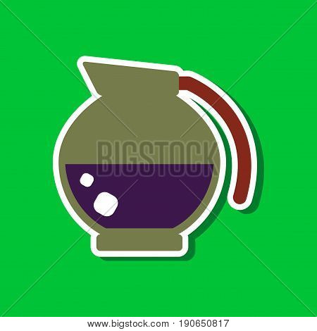 paper sticker on stylish background of coffee dishware kettle