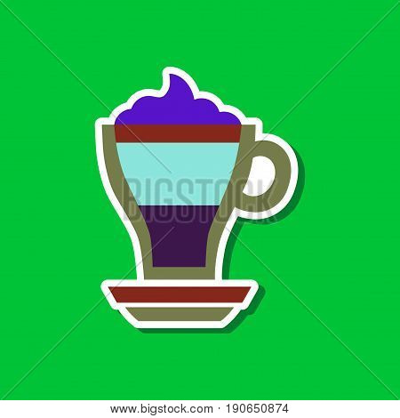 paper sticker on stylish background of cup coffee mocha