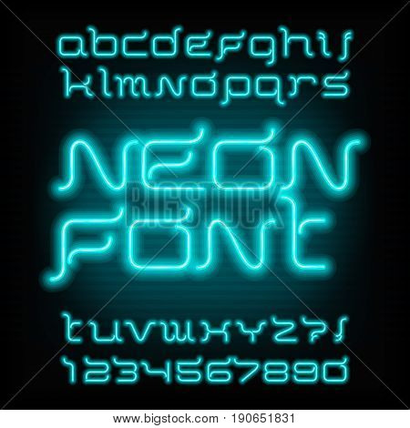 Neon tube alphabet font. Type letters and numbers. Futuristic vector typography for headlines, posters, etc.