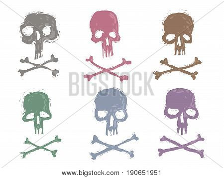 Set 6 images of skulls stamps. Illustration vector