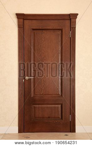 Close up of closed wooden door in the modern room