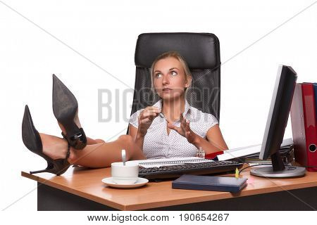 Businesswoman does manicure nails on workplace on a white background
