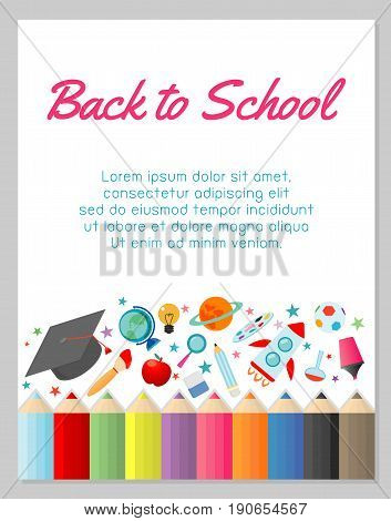 education object on back to school background, back to school, education concept, Template for advertising brochure, your text ,Vector Illustration