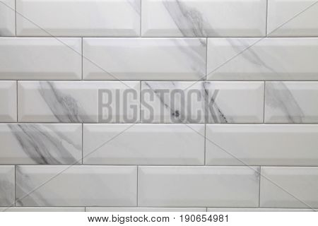 white marble metro ceramic tile texture, modern background