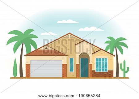 Frontview of USA Arizona style suburban private house. Flat design. Vector illustration.