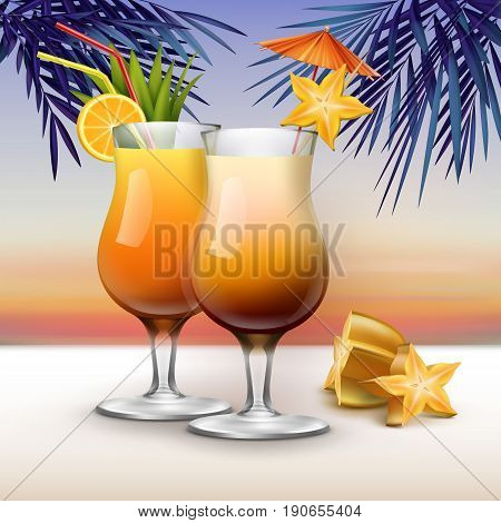 Vector tropical cocktails garnished with starfruit , orange slices, red, yellow straw tubes and pink umbrella on sunset background with palm leaves