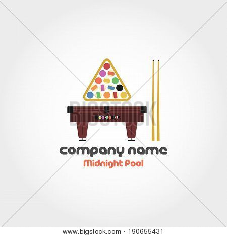 Vector isolated illustration of billiard table, set of balls and cues with text for company name and slogan. Can be used for logo