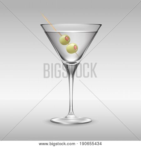 Vector glass of Martini garnished with two olives on toothpick side view isolated on background
