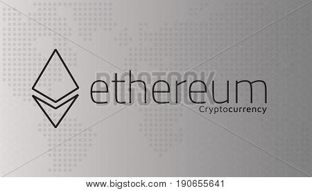 Ethereum logo and dotted world map. Editable eps10 Vector. Transparent background.