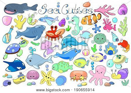 Sea animals and fishes doodle. Marine animals cartoon vector illustration. Cute whale shark dolphin and aquarium fishes nursery clipart. Tropical seashore animals. Lovely sea mascot sticker or icon.