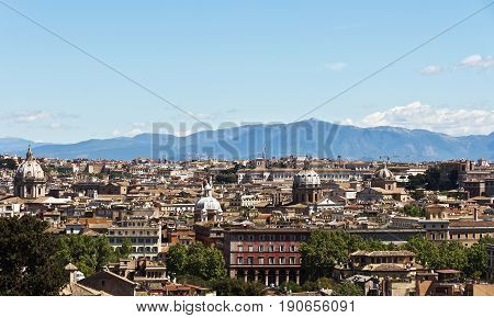 Rome, Italy - April17, 2017: Panorama of Rome from the Janiculum hill