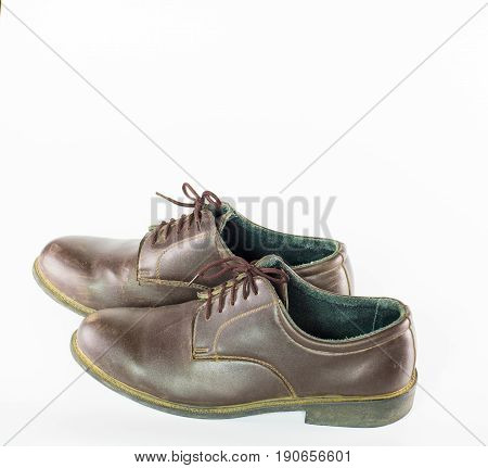 Pair  Brown Leather Shoes Isolated On White Background , Classic Male Shoe On White Background ,clos